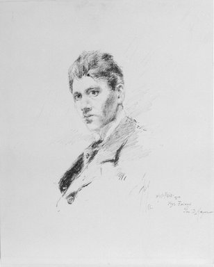Robert Frederick Blum (American, 1857-1903). <em>Pen Portrait of Blum by Himself</em>, 1880. Pen and ink on paperboard, Sheet: 11 x 8 15/16 in. (27.9 x 22.7 cm). Brooklyn Museum, Gift of Marie Shields Myer, 15.516 (Photo: Brooklyn Museum, 15.516_bw.jpg)