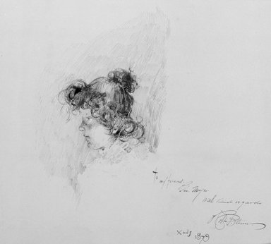 Robert Frederick Blum (American, 1857-1903). <em>Model</em>, 1879. Pen and ink on paper, Sheet: 9 1/16 x 10 in. (23 x 25.4 cm). Brooklyn Museum, Gift of Marie Shields Myer, 15.517 (Photo: Brooklyn Museum, 15.517_bw.jpg)