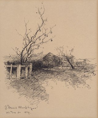 John Francis Murphy (American, 1853-1921). <em>[Untitled] (Landscape)</em>, December 20, 1894. Pen and ink on paper mounted to paperboard, Sheet: 7 3/4 x 6 9/16 in. (19.7 x 16.7 cm). Brooklyn Museum, Gift of Edward C. Blum, 15.518.1 (Photo: Brooklyn Museum, 15.518.1.jpg)