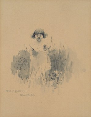 Ada Clifford Murphy (American, active 1890-1930). <em>[Untitled] (Little Girl Among Flowers)</em>, December 17, 1894. Watercolor on paper mounted to paperboard, Sheet (drawing): 8 1/4 x 5 7/8 in. (21 x 14.9 cm). Brooklyn Museum, Gift of Edward C. Blum, 15.518.3 (Photo: Brooklyn Museum, 15.518.3.jpg)