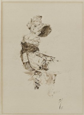 Robert Frederick Blum (American, 1857-1903). <em>Waiting for Aaron</em>, 1880. Pen and brush and black and brown inks with scratching out on cream laid paper, Image: 11 x 8 in. (27.9 x 20.3 cm). Brooklyn Museum, Caroline H. Polhemus Fund, 15.521 (Photo: Brooklyn Museum, 15.521_PS4.jpg)