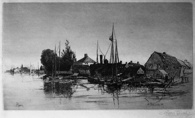 Stephen Parrish (American, 1846-1938). <em>Portsmouth, N.H.</em>, 1884. Etching on Japan paper, Plate: 7 7/8 x 13 15/16 in. (20 x 35.4 cm). Brooklyn Museum, Gift of E. Colonna, 15.61 (Photo: Brooklyn Museum, 15.61_glass_bw.jpg)