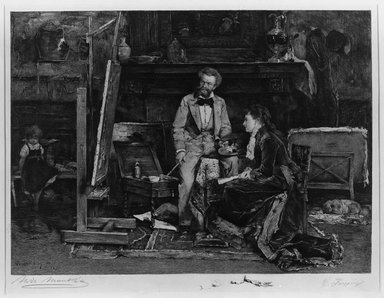 Carl Koepping (German, 1848-1914). <em>The Portrait Painter and His Model</em>, 1882. Etching on machine made Japan paper, 17 1/2 x 22 1/4 in. (44.5 x 56.5 cm). Brooklyn Museum, 15.64 (Photo: Brooklyn Museum, 15.64_acetate_bw.jpg)