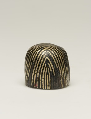 <em>Falcon Head</em>, 664-525 B.C.E., or earlier. Bronze, gold, 1 1/4 × 1 5/16 × 1 5/16 in. (3.1 × 3.3 × 3.4 cm). Brooklyn Museum, Gift of Evangeline Wilbour Blashfield, Theodora Wilbour, and Victor Wilbour honoring the wishes of their mother, Charlotte Beebe Wilbour, as a memorial to their father, Charles Edwin Wilbour, 16.107. Creative Commons-BY (Photo: Brooklyn Museum, 16.107_back_PS11.jpg)