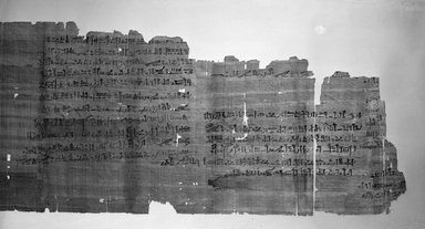 <em>Papyrus Inscribed in Hieratic</em>, ca. 991-982 B.C.E. Papyrus, ink, 9 1/16 x 35 1/16 in. (23 x 89 cm). Brooklyn Museum, Gift of Evangeline Wilbour Blashfield, Theodora Wilbour, and Victor Wilbour honoring the wishes of their mother, Charlotte Beebe Wilbour, as a memorial to their father, Charles Edwin Wilbour, 16.205 (Photo: Brooklyn Museum, 16.205_view1_bw_IMLS.jpg)