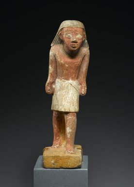 <em>Statuette of a Striding Man</em>, ca. 2288-2170 B.C.E. Limestone, pigment, 6 7/8 × 2 5/16 × 3 1/8 in., 0.5 lb. (17.5 × 5.8 × 8 cm, 0.23kg). Brooklyn Museum, Gift of Evangeline Wilbour Blashfield, Theodora Wilbour, and Victor Wilbour honoring the wishes of their mother, Charlotte Beebe Wilbour, as a memorial to their father, Charles Edwin Wilbour, 16.238. Creative Commons-BY (Photo: Brooklyn Museum, 16.238_front_PS2.jpg)