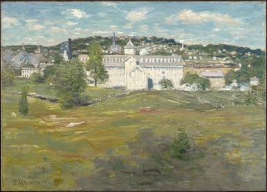 Julian Alden Weir (American, 1852-1919). <em>Willimantic Thread Factory</em>, 1893. Oil on canvas, frame: 37 5/8 x 47 1/4 x 4 1/4 in. (95.6 x 120 x 10.8 cm). Brooklyn Museum, John B. Woodward Memorial Fund, 16.30 (Photo: , 16.30_PS9.jpg)