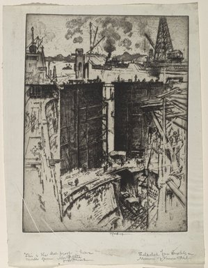 Joseph Pennell (American, 1860-1926). <em>The Guard Gate, Gatun Lock, Panama</em>, 1912. Etching on paper, Sheet: 14 3/4 x 11 1/4 in. (37.5 x 28.6 cm). Brooklyn Museum, Gift of Joseph Pennell, 16.39 (Photo: Brooklyn Museum, 16.39_PS6.jpg)