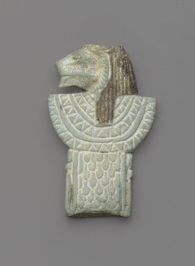 <em>Amulet in Form of a Lion-Headed Aegis</em>, 664-30 B.C.E. Faience, 2 1/4 x 1 7/16 in. (5.7 x 3.7 cm). Brooklyn Museum, Gift of Evangeline Wilbour Blashfield, Theodora Wilbour, and Victor Wilbour honoring the wishes of their mother, Charlotte Beebe Wilbour, as a memorial to their father, Charles Edwin Wilbour, 16.401. Creative Commons-BY (Photo: Brooklyn Museum, 16.401_front_PS9.jpg)