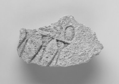 <em>Fragment of Sunk Relief</em>, ca. 1352-1336 B.C.E. or slightly later. Limestone, 2 1/2 x 3 3/4 in. (6.3 x 9.6 cm). Brooklyn Museum, Gift of Evangeline Wilbour Blashfield, Theodora Wilbour, and Victor Wilbour honoring the wishes of their mother, Charlotte Beebe Wilbour, as a memorial to their father, Charles Edwin Wilbour, 16.40. Creative Commons-BY (Photo: Brooklyn Museum, 16.40_bw_IMLS.jpg)