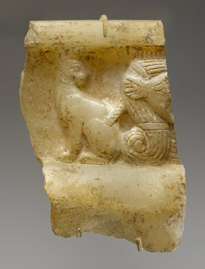 <em>Part of a Bowl Inscribed for Amunhotep III and His Chief Queen, Tiye</em>, ca. 1390-1352 B.C.E. Egyptian alabaster (calcite), traces of gilding, 3 7/8 x 2 9/16 in. (9.9 x 6.5 cm). Brooklyn Museum, Gift of Evangeline Wilbour Blashfield, Theodora Wilbour, and Victor Wilbour honoring the wishes of their mother, Charlotte Beebe Wilbour, as a memorial to their father, Charles Edwin Wilbour, 16.41. Creative Commons-BY (Photo: Brooklyn Museum, 16.41_PS9.jpg)