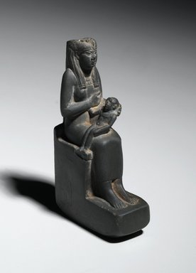 <em>Statuette of Isis Holding Horus</em>, 664–525 B.C.E. Stone, 5 1/2 x 1 3/8 x 3 in. (14 x 3.5 x 7.6 cm). Brooklyn Museum, Gift of Evangeline Wilbour Blashfield, Theodora Wilbour, and Victor Wilbour honoring the wishes of their mother, Charlotte Beebe Wilbour, as a memorial to their father, Charles Edwin Wilbour, 16.430. Creative Commons-BY (Photo: Brooklyn Museum, 16.430_threequarter_right_PS2.jpg)