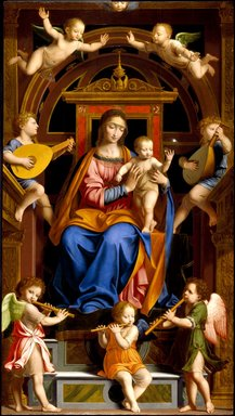 Workshop of Bernardino Luini (Italian, Milanese School, circa 1480-1532). <em>Madonna and Child Enthroned with Angels</em>, mid-16th century. Oil on poplar panel, 96 3/4 x 54 1/16 in. (245.7 x 137.3 cm). Brooklyn Museum, Purchased with funds given by Martin Joost, Frank S. Jones, L. W. Lawrence, Dick S. Ramsay, John T. Underwood, Henry H. Benedict, Herman Stutzer, F. Healy, Horace J. Morse, Luke V. Lockwood, Henry L. Batterman, Edward C. Blum, Frank L. Babbott, William H. Crittenden, W.C. Courtney, Frederic B. Pratt, H. I. Pratt, Alfred T. White, E. LeGrand Beers, C. D. Pratt, C. J. Peabody, Wallace A. Putnam, and A. Augustus Healy, 16.441 (Photo: Brooklyn Museum, 16.441_SL3.jpg)
