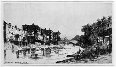 Charles Adams Platt (American, 1861-1933). <em>The Little River, Hartford</em>, 1881. Etching on cream-colored wove, Sheet: 17 5/16 x 22 7/16 in. (44 x 57 cm). Brooklyn Museum, Gift of Kennedy & Company, 16.446 (Photo: Brooklyn Museum, 16.446_bw.jpg)
