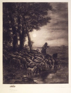 After Charles-Émile Jacque (French, 1813-1894). <em>Moonlight</em>, ca. 1888. Etching on wove paper on machine-made Japan paper mark, 21 1/4 x 17 1/2 in. (54.0 x 44.5 cm). Brooklyn Museum, Gift of M. Knoedler & Co., 16.468 (Photo: Brooklyn Museum, 16.468_transp238.jpg)