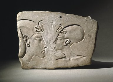 <em>The Wilbour Plaque</em>, ca. 1352-1336 B.C.E. or slightly later. Limestone, pigment, 6 3/16 × 8 11/16 × 1 5/8 in. (15.7 × 22.1 × 4.1 cm). Brooklyn Museum, Gift of Evangeline Wilbour Blashfield, Theodora Wilbour, and Victor Wilbour honoring the wishes of their mother, Charlotte Beebe Wilbour, as a memorial to their father, Charles Edwin Wilbour, 16.48. Creative Commons-BY (Photo: Brooklyn Museum, 16.48_SL1.jpg)