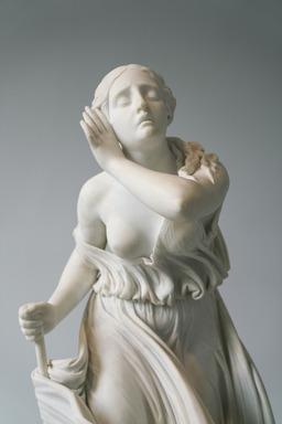 Randolph Rogers (American, 1825-1892). <em>Nydia</em>, 1861. Marble, 53 1/2 x 24 7/8 x 39 3/8 in. (135.9 x 63.2 x 100 cm). Brooklyn Museum, Gift of Frederic B. Pratt, 16.507. Creative Commons-BY (Photo: Brooklyn Museum, 16.507_detail_in_situ.jpg)