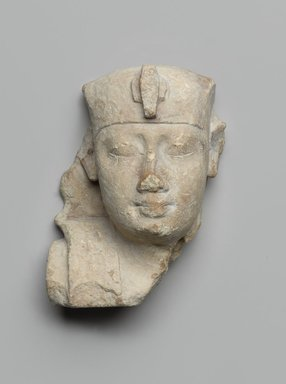 <em>Sculptor's Model of a Royal Head</em>, 6th-4th century B.C.E. Limestone, 3 3/8 x 2 11/16 x 1 7/8 in. (8.5 x 6.8 x 4.8 cm). Brooklyn Museum, Gift of Evangeline Wilbour Blashfield, Theodora Wilbour, and Victor Wilbour honoring the wishes of their mother, Charlotte Beebe Wilbour, as a memorial to their father, Charles Edwin Wilbour, 16.50. Creative Commons-BY (Photo: Brooklyn Museum, 16.50_PS9.jpg)