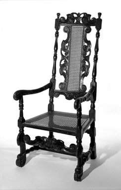 <em>Armchair</em>, 17th century. Oak and cane, 49 3/4 x 22 3/4 x 21 1/2 in. (126.4 x 57.8 x 54.6 cm). Brooklyn Museum, Gift of Kate Hicks Wolff, 16.510.1. Creative Commons-BY (Photo: Brooklyn Museum, 16.510.1_bw.jpg)