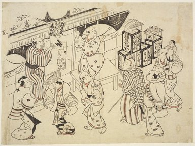 Okumura Masanobu (Japanese, 1686-1764). <em>Dancers Advertising a Theatrical Performance</em>, 17th century. Woodblock print on paper, hand colored (beniye), 10 5/8 x 14 5/16 in. (27 x 36.4 cm). Brooklyn Museum, Museum Collection Fund, 16.519. Creative Commons-BY (Photo: Brooklyn Museum, 16.519.jpg)