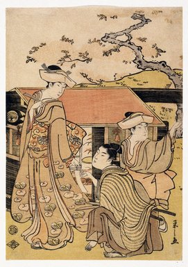Eishi Chobunsai (Japanese, 1756-1829). <em>Cherry Blossom Viewing at Gotenyama Hill</em>, ca. 1794. Color woodblock print on paper, sheet: 11 x 7 3/16 in. (26.0 x 18.3 cm). Brooklyn Museum, Museum Collection Fund, 16.525 (Photo: Brooklyn Museum, 16.525_IMLS_SL2.jpg)