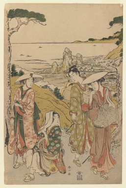 Katsukawa Shunzan (Japanese, active 1780-1800). <em>Travellers at Futami-ga-ura</em>, ca. 1790. Color woodblock print on paper, 14 3/4 x 9 5/8 in. (37.4 x 24.5 cm). Brooklyn Museum, Museum Collection Fund, 16.527 (Photo: Brooklyn Museum, 16.527_IMLS_PS3.jpg)