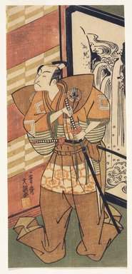 Ippitsusai Buncho (Japanese, 1725-1794, active 1765-1780). <em>An Actor of the Ichikawa School about to Draw His Sword</em>, ca. 1792. Color woodblock print on paper, 11 1/4 x 5 1/8 in. (28.6 x 13 cm). Brooklyn Museum, 16.529 (Photo: Brooklyn Museum, 16.529_IMLS_SL2.jpg)