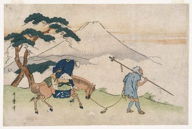Kitagawa Utamaro (Japanese, 1753-1806). <em>Travels Looking at Mt. Fuji</em>, ca. 1805-1820. Color woodblock print on paper, 10 1/8 x 15 1/4 in. (25.5 x 38.6 cm). Brooklyn Museum, Museum Collection Fund, 16.530 (Photo: Brooklyn Museum, 16.530_IMLS_SL2.jpg)