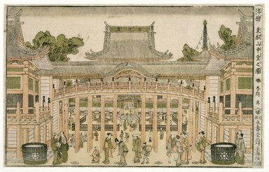Katsushika Hokusai (Japanese, 1760-1849). <em>Picture of the Main Hall at Toeizan, from the series of Perspective Pictures</em>, ca. 1788-1789. Color woodblock print on paper, 9 1/2 x 14 3/4 in. (24.1 x 37.5 cm). Brooklyn Museum, Museum Collection Fund, 16.531 (Photo: Brooklyn Museum, 16.531_IMLS_SL2.jpg)