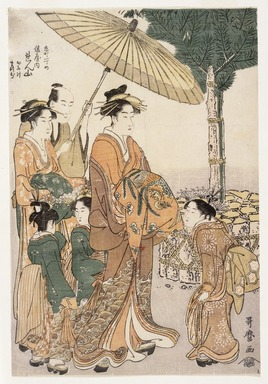 Kitagawa Utamaro (Japanese, 1753-1806). <em>Courtesan Renzan of Hyogo-ya Tea House with her Two Attendants</em>, ca. 1788-1790. Color woodblock print on paper, 12 3/4 x 8 11/16 in. (32.2 x 22.0 cm). Brooklyn Museum, Museum Collection Fund, 16.533 (Photo: Brooklyn Museum, 16.533_IMLS_SL2.jpg)