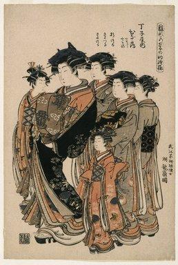 Isoda Koryusai (Japanese, ca. 1766-1788). <em>Hinazuru, a Yoshiwara Beauty of the Tea House Chojiya with Five Attendants</em>, ca. 1777. Color woodblock print on paper, 15 1/2 x 10 1/2 in. (39.4 x 26.7 cm). Brooklyn Museum, Museum Collection Fund, 16.536 (Photo: Brooklyn Museum, 16.536_IMLS_SL2.jpg)