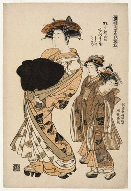 Isoda Koryusai (Japanese, ca. 1766-1788). <em>Azumaya, a Yoshiwara Beauty of the Tea House Matsu Hanaya Followed by Two Attendants</em>, ca. 1777. Color woodblock print on paper, 15 1/2 x 10 1/2 in. (39.4 x 26.7 cm). Brooklyn Museum, Museum Collection Fund, 16.537 (Photo: Brooklyn Museum, 16.537_IMLS_SL2.jpg)