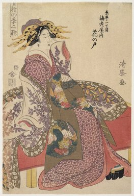 Torii Kiyomine (Japanese, 1787-1869). <em>Hananoto of the Ebiya in Kyō-machi itchōme, from the series Songs of the Four Seasons in the Pleasure Quarters</em>, ca. 1803-1807. Color woodblock print on paper, 14 3/4 x 9 15/16 in. (37.4 x 25.3 cm). Brooklyn Museum, Museum Collection Fund, 16.538 (Photo: Brooklyn Museum, 16.538_IMLS_SL2.jpg)