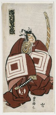 Utagawa Toyokuni I (Japanese, 1769-1825). <em>Actor Ichikawa Omezō I as Kamakura Gongorō Kagemasa in a Shibaraku Scene</em>, 11th month, 1802. Color woodblock print on paper, 12 3/8 x 5 3/4 in. (31.5 x 14.6 cm). Brooklyn Museum, Museum Collection Fund, 16.539 (Photo: Brooklyn Museum, 16.539_IMLS_SL2.jpg)