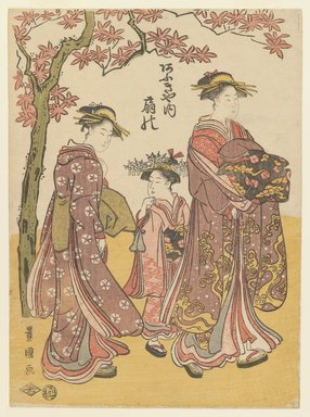 Utagawa Toyokuni I (Japanese, 1769-1825). <em>The Courtesan Ogino of Ogiya Tea House with Two Attendants</em>, ca. 1790-1795. Color woodblock print on paper, 10 3/8 x 7 5/8 in. (26.4 x 19.4 cm). Brooklyn Museum, Museum Collection Fund, 16.540 (Photo: Brooklyn Museum, 16.540_IMLS_PS3.jpg)