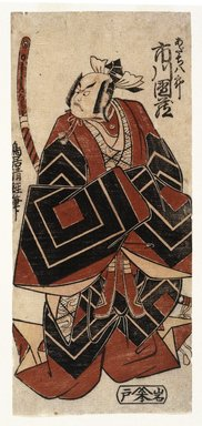 Torii Kiyotsune (Japanese, active 1760-1779). <em>The Actor Ichikawa Danzo in a Shibaraku Role</em>, ca. 1777. Color woodblock print on paper, 11 9/16 x 5 3/16 in. (29.3 x 13.2 cm). Brooklyn Museum, Museum Collection Fund, 16.542 (Photo: Brooklyn Museum, 16.542_IMLS_SL2.jpg)
