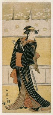 Katsukawa Shunei (Japanese, 1762-1819). <em>The Actor Ichikawa Monnosuke II as Karigane no Ofumi</em>, 1792. Color woodblock print on paper, 12 3/4 x 5 9/16 in. (32.0 x 14.2 cm). Brooklyn Museum, Museum Collection Fund, 16.543 (Photo: Brooklyn Museum, 16.543_IMLS_SL2.jpg)