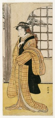 Katsukawa Shunko (Japanese, 1743-1812). <em>The Actor Iwai Hanshiro IV as Ohatsu</em>, ca. 1783. Color woodblock print on paper, 12 13/16 x 5 3/4 in. (32.3 x 14.5 cm). Brooklyn Museum, Museum Collection Fund, 16.546 (Photo: Brooklyn Museum, 16.546_IMLS_SL2.jpg)