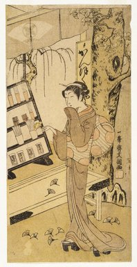 Ippitsusai Buncho (Japanese, 1725-1794, active 1765-1780). <em>The Toothbrush Shop, Yanagi-ya</em>, ca. 1773. Color woodblock print on paper, 11 15/16 x 5 7/8 in. (30.4 x 14.9 cm). Brooklyn Museum, Museum Collection Fund, 16.548 (Photo: Brooklyn Museum, 16.548_IMLS_SL2.jpg)