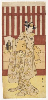 Katsukawa Shunsho (Japanese, 1726-1793). <em>The Actor Ogawa Tsunezo II in a Female Role</em>, 1782. Color woodblock print on paper, 12 15/16 x 5 13/16 in. (32.7 x 15.0 cm). Brooklyn Museum, Museum Collection Fund, 16.550 (Photo: Brooklyn Museum, 16.550_IMLS_SL2.jpg)