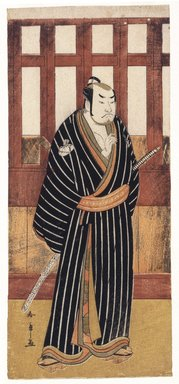 Katsukawa Shunsho (Japanese, 1726-1793). <em>The Actor Sakata Hangoro II</em>, ca. 1780. Color woodblock print on paper, 13 x 5 1/2 in. (33 x 14 cm). Brooklyn Museum, Museum Collection Fund, 16.553 (Photo: Brooklyn Museum, 16.553_IMLS_SL2.jpg)