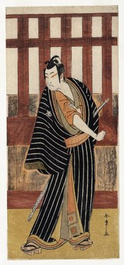 Katsukawa Shunsho (Japanese, 1726-1793). <em>Actor Ishikawa Monosuke II as Karigane Bunshichi</em>, 1782. Color woodblock print on paper, 12 15/16 x 5 3/4 in. (32.8 x 14.6 cm). Brooklyn Museum, Museum Collection Fund, 16.554 (Photo: Brooklyn Museum, 16.554_IMLS_SL2.jpg)