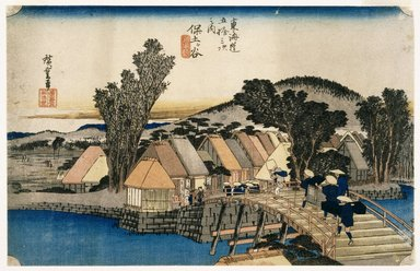 Utagawa Hiroshige (Ando) (Japanese, 1797-1858). <em>Hodogaya: Shinmachi Bridge, from the series Fifty-three Stations of the Tōkaidō Road</em>, ca. 1833-1834. Color woodblock print on paper, 8 15/16 x 13 15/16 in. (22.7 x 35.4 cm). Brooklyn Museum, Museum Collection Fund, 16.556 (Photo: Brooklyn Museum, 16.556_IMLS_SL2.jpg)