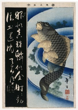 Katsushika Taito (Japanese, active 1810-1853). <em>Carp, Calligraphy, from an untitled series of harimaze</em>, ca. 1830-1844. Color woodblock print on paper, 14 15/16 x 10 3/8 in. (37.9 x 26.4 cm). Brooklyn Museum, Museum Collection Fund, 16.558 (Photo: Brooklyn Museum, 16.558_IMLS_SL2.jpg)