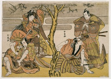 Katsukawa Shunsho (Japanese, 1726-1793). <em>Four Actors in a Scene from Some Play</em>, ca. 1776. Color woodblock print on paper, 9 x 12 5/8 in. (22.9 x 32.1 cm). Brooklyn Museum, Museum Collection Fund, 16.559 (Photo: Brooklyn Museum, 16.559_IMLS_SL2.jpg)