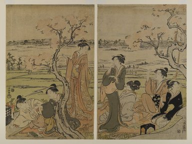 Torii Kiyonaga (Japanese, 1752-1815). <em>Cherry Trees on the Banks of the Sumida River, [two pages from] a Pentaptych</em>, ca. 1792. Woodblock color print, 14 3/4 x 9 5/8 in. (37.5 x 24.5 cm) each. Brooklyn Museum, Museum Collection Fund, 16.562 (Photo: Brooklyn Museum, 16.562_IMLS_PS4.jpg)
