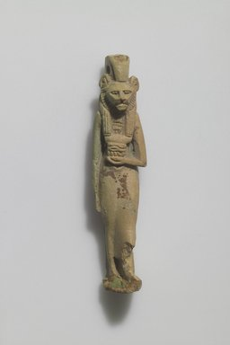 <em>Figure of Lion-headed Female Deity</em>. Faience, 2 13/16 x 5/8 in. (7.2 x 1.6 cm). Brooklyn Museum, Gift of Evangeline Wilbour Blashfield, Theodora Wilbour, and Victor Wilbour honoring the wishes of their mother, Charlotte Beebe Wilbour, as a memorial to their father Charles Edwin Wilbour, 16.580.47. Creative Commons-BY (Photo: Brooklyn Museum, 16.580.47.jpg)