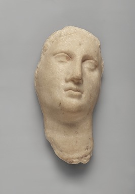 Graeco-Egyptian. <em>Female Face and Neck</em>. Marble, pigment, 8 9/16 x 4 x 3 7/16 in. (21.8 x 10.2 x 8.7 cm). Brooklyn Museum, Gift of Evangeline Wilbour Blashfield, Theodora Wilbour, and Victor Wilbour honoring the wishes of their mother, Charlotte Beebe Wilbour, as a memorial to their father, Charles Edwin Wilbour, 16.580.82. Creative Commons-BY (Photo: Brooklyn Museum, 16.580.82_PS9.jpg)