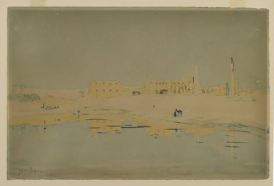 Henry Bacon (American, 1839-1912). <em>Ruins of Luxor</em>. Watercolor Brooklyn Museum, Gift of Evangeline Wilbour Blashfield, Theodora Wilbour, and Victor Wilbour honoring the wishes of their mother, Charlotte Beebe Wilbour, as a memorial to their father Charles Edwin Wilbour, 16.686 (Photo: Brooklyn Museum, 16.686_PS2.jpg)