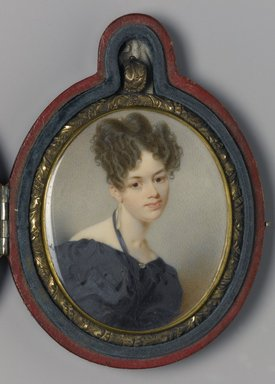 Thomas Seir Cummings (American, born England, 1804-1894). <em>Portrait of Elizabeth Stirling Foote</em>, 1832. Watercolor on ivory portrait in brass locket with glass lenses on both sides, Image (sight): 2 11/16 x 2 3/16 in. (6.8 x 5.6 cm). Brooklyn Museum, Museum Collection Fund, 16.687.1 (Photo: Brooklyn Museum, 16.687.1_PS1.jpg)